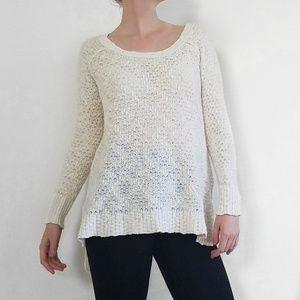 Free People Cream Scoop Neck Sweater